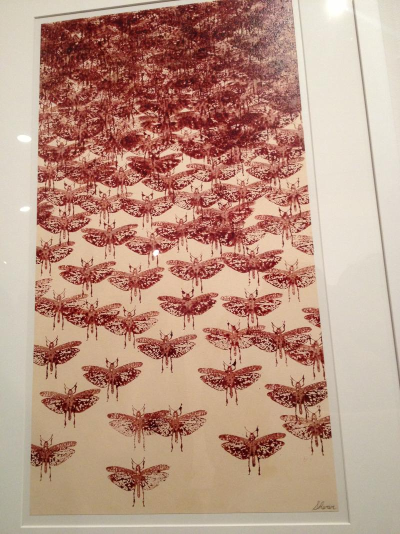 "Robert Sherer's ""Hookups,"" created with HIV- and HIV+ blood on paper"