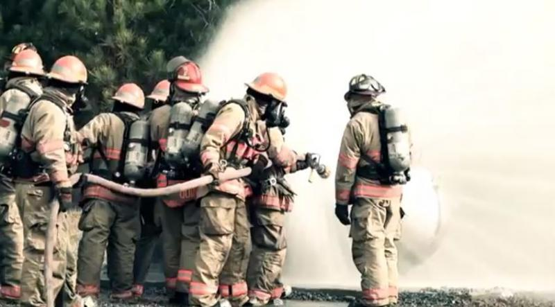 Recruits learning to work while wearing protective gear.
