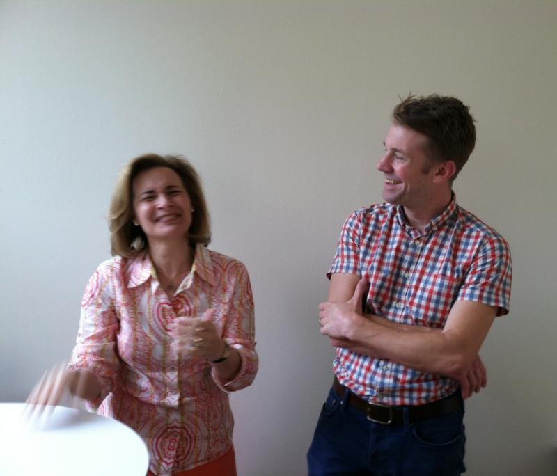 WABE's Lois Reitzes with Adult Swim senior writer and producer, Matt Hutchinson