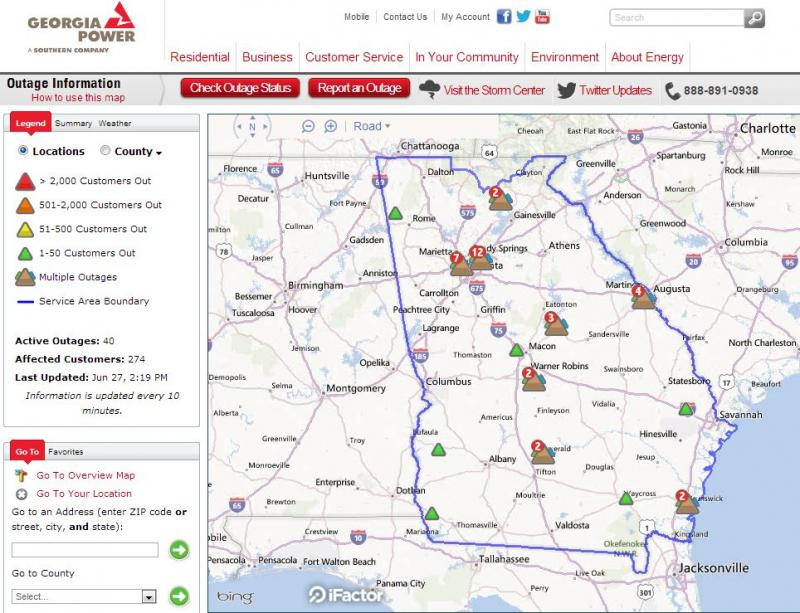 A screen shot of the new Georgia Power interactive outage map, showing information about outages across the entire Georgia Power service area.