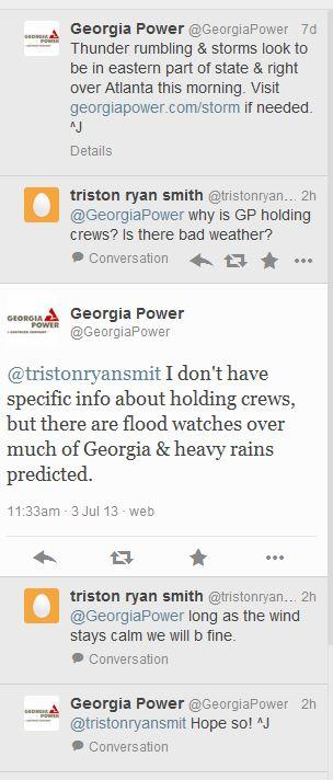Georgia Power also has a very active Twitter accout (@GeorgiaPower), where they frequently post information and you can ask questions.