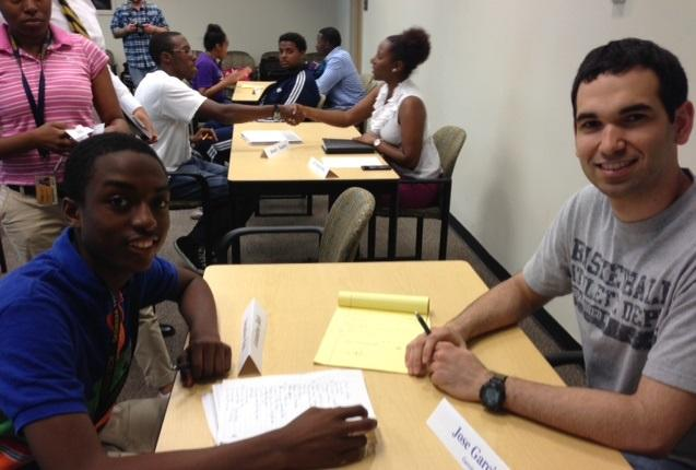 B.E.S.T Academy student Amadou Bah (left) and Ga Tech grad student and Project ENGAGE mentro Jose Garcia (right) have just finished their five-minute 'speed date.'