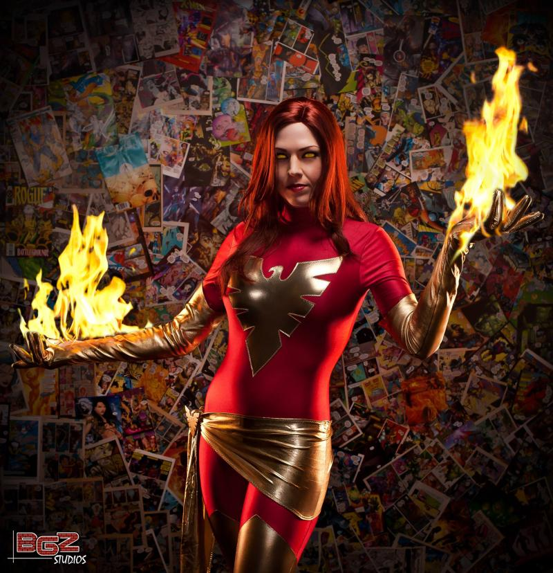Cosplayer with her hands in flames