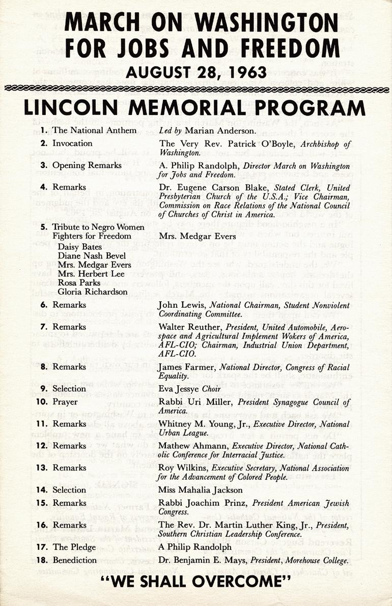 The printed program listing the performers and speakers at the Lincoln Memorial.