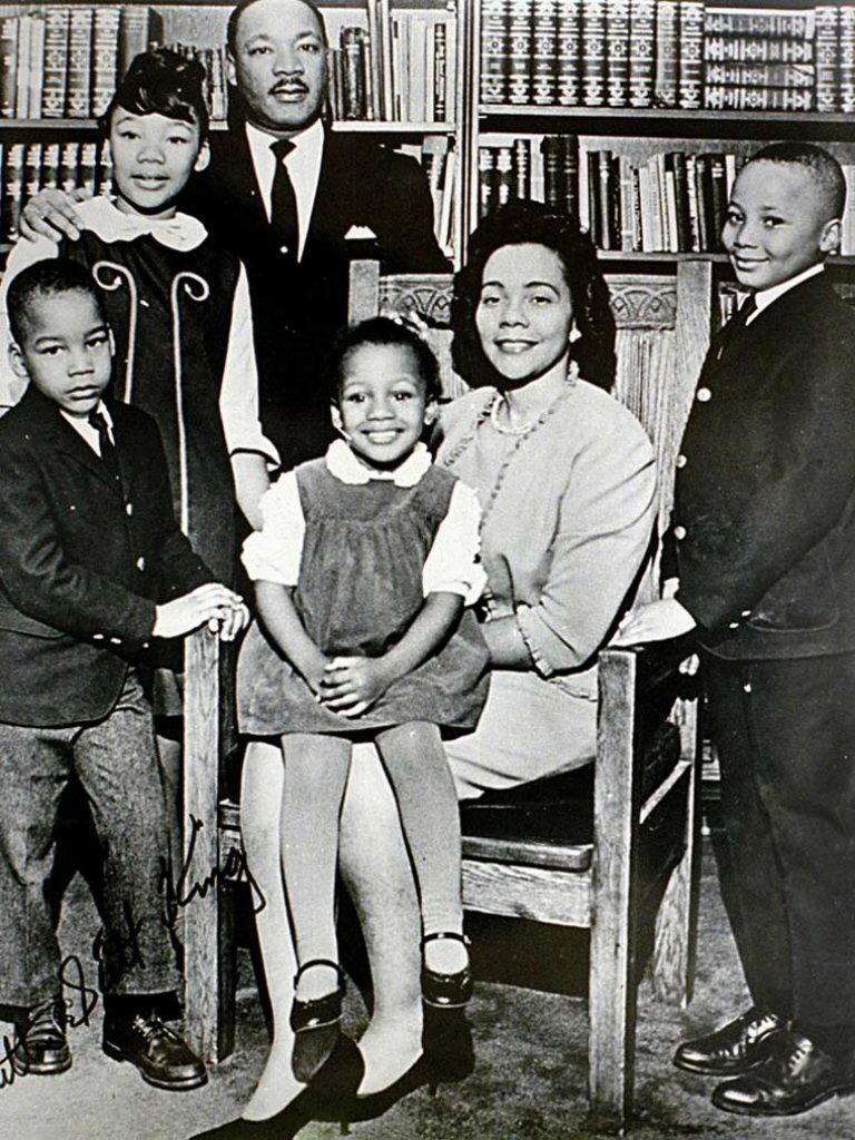 Dr. King and Coretta Scott King surrounded by their children (L-R) Dexter, Yolanda (deceased), Bernice (sitting on her mother's lap), and Martin III.