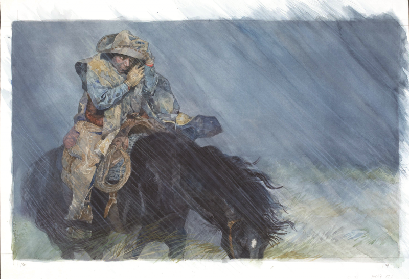 Then Came the Rain Illustration from Black Cowboy, Wild Horses, Jerry Pinkney, 1998.