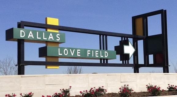 A sign welcomes travelers to Dallas Love Field