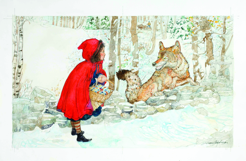 Little Red Riding Hood Met a Sly Wolf Illustration from Little Red Riding Hood, Jerry Pinkney, 2007.