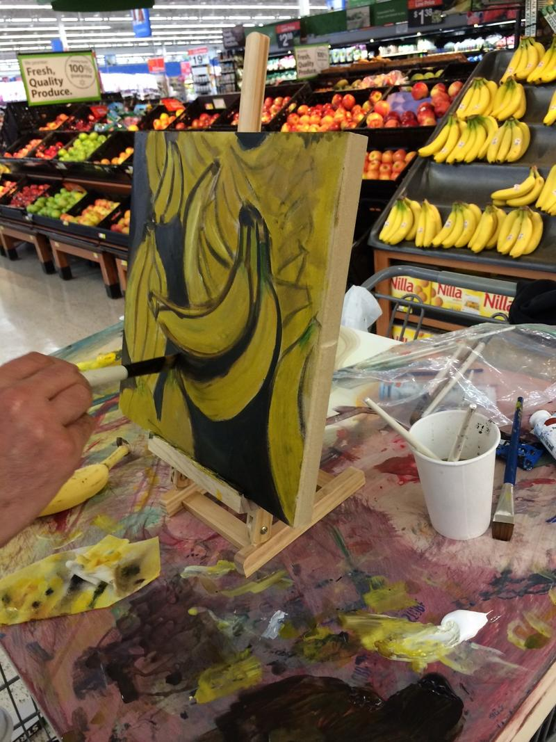 Brendan O'Connell, painting bananas at the Toco Hills Walmart