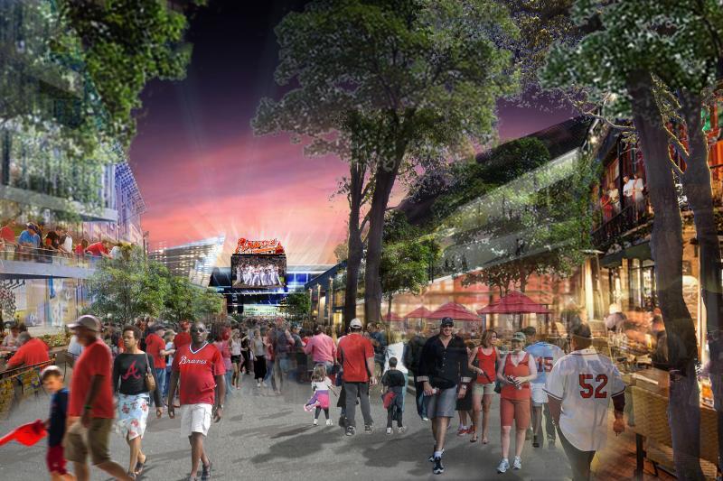 An artist's rendering of Braves fans walking around the new stadium development.