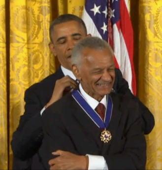 Civil rights pioneer Rev. C.T. Vivian receives the Presidential Medal of Freedom from President Obama today.
