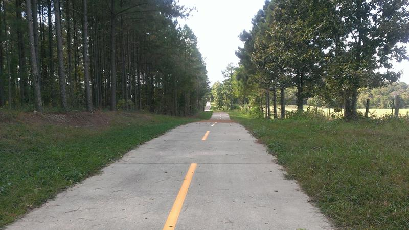 A rural stretch of the Silver Comet Trail between Rockmart and Cedartown, Georgia