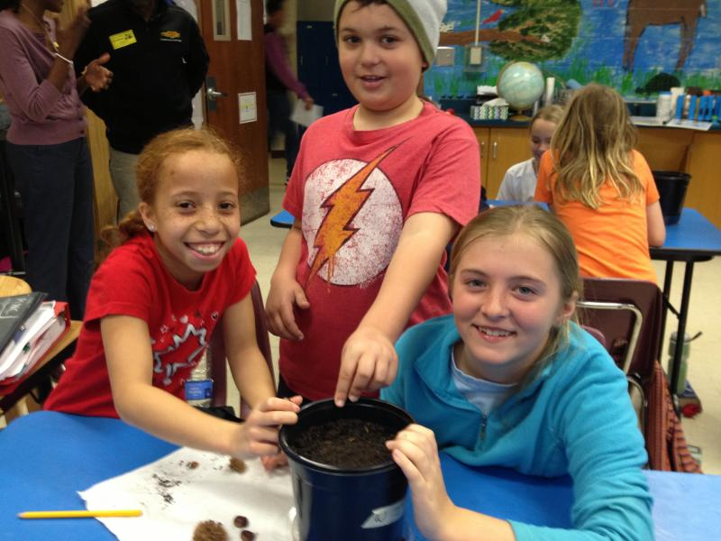 Thomas and his classmates at Morningside Elementary with their newly-planted chestnut