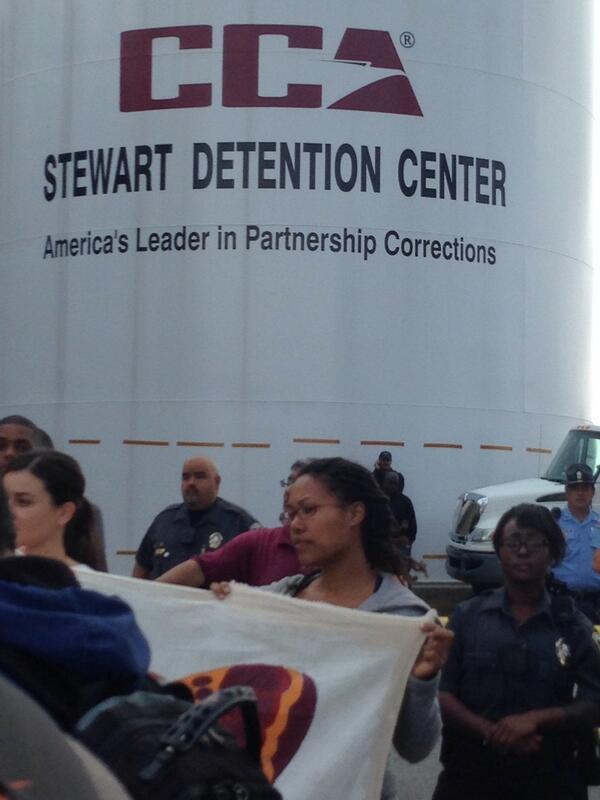 Officials stopped protesters outside the Stewart Detention Center.