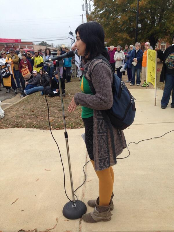 Catalina Nieto, of the Detention Watch Network, addressed the crowd and revealed she's undocumented.
