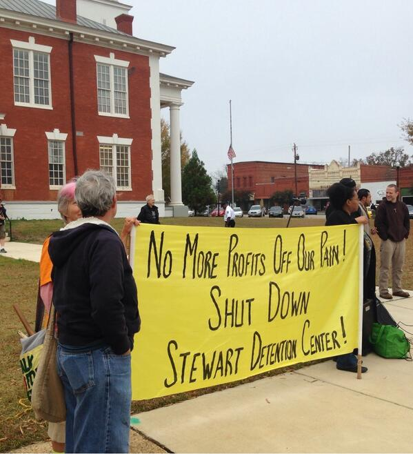 The protest began at the Lumpkin Courthouse in the center of town.