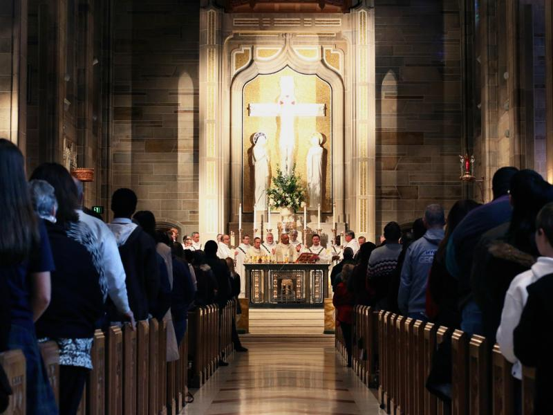 Catholics attend the annual Mass for the Unborn at the Cathedral of Christ the King in Buckhead on the anniversary of Roe v. Wade.