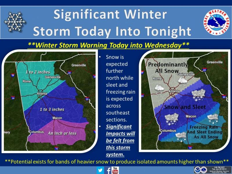 Atlanta's updated weather forecast from the National Weather Service as of 1:49 p.m. Tuesday.