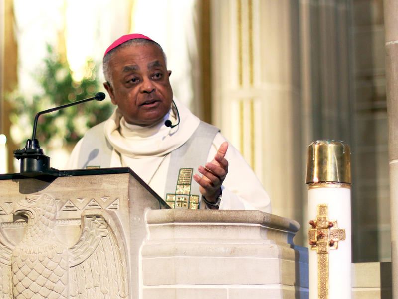 Roman Catholic Archbishop Wilton Gregory addresses the people attending the annual Mass for the Unborn.