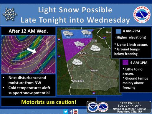 The National Weather Service says parts of the north-metro area could see a mix of snow and rain overnight and into Wednesday morning, with other parts of the region seeing potential flurries Wednesday afternoon.