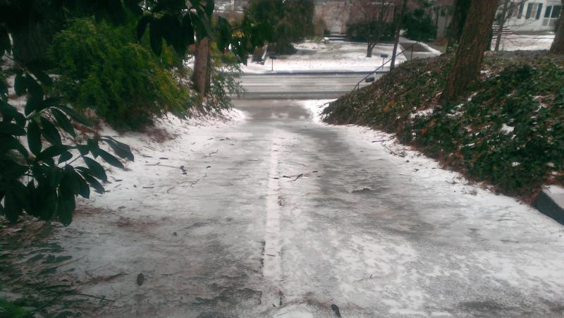 An impassable driveway on Lindbergh Drive in Peachtree Hills.