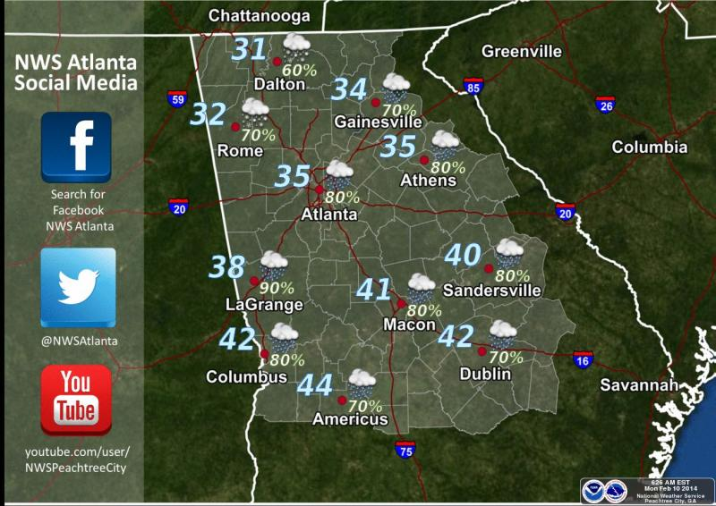 Monday night low temperatures (Feb. 10-11)