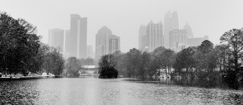 Piedmont Park and Midtown Atlanta during the winter storm on Jan. 28, 2014.