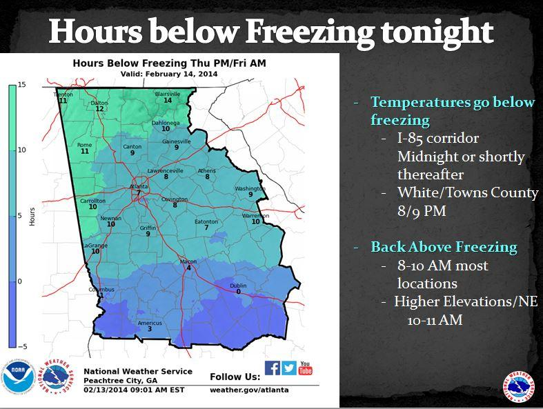 How long will various parts of the state stay below freezing tonight?  The longer below freezing, the more black ice.