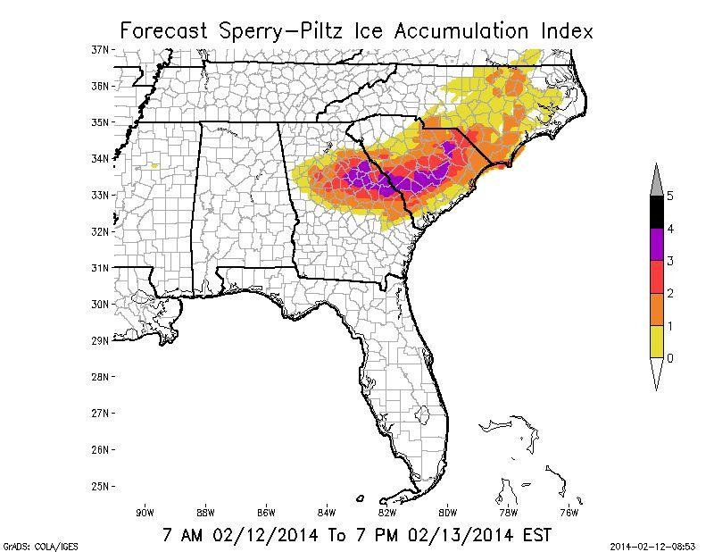 Ice accumulation, in inches, through 7:00 p.m. Thursday, Feb. 13, according to the Sperry-Piltz Ice Accumulation Index