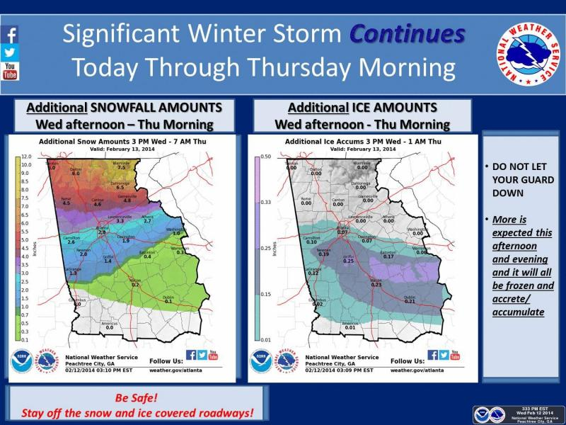 The latest graphic from the NWS office in Peachtree City, released today at 3:33 p.m., shows forecasts of how much additional snow and ice various locations will get.