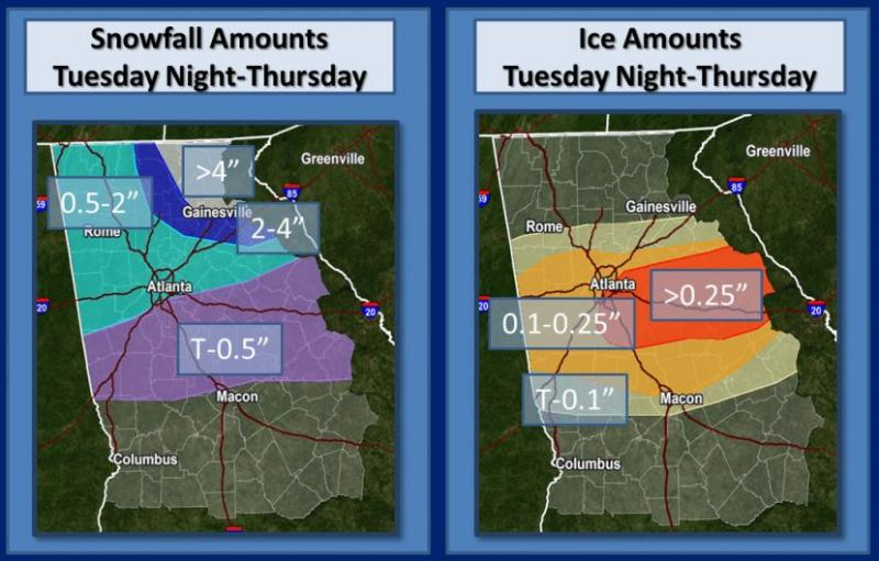 Predictions of ice and snow, released as of 6:28 a.m. Monday, February 10, 2014