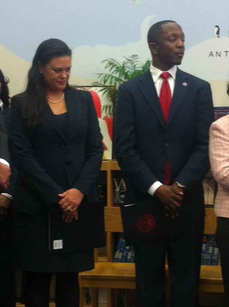 Dr. Meria Joel Carstarphen (left), the only finalist for the position of APS superintendent, was introduced to the public and press late Thursday afternoon, March 27.