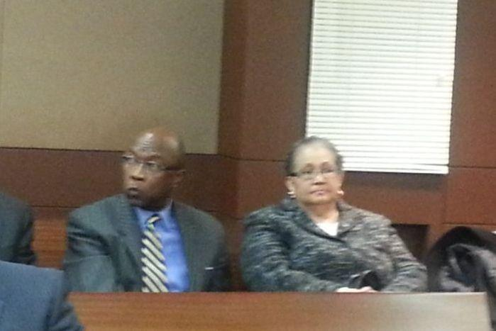 In this file photo from earlier this year, Dr. Beverly Hall attends a hearing with attorney Richard