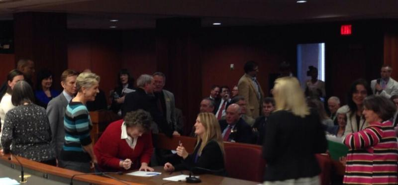 A standing-room-only crowd awaited the start of the House Education Committee's hearing on SB 167.