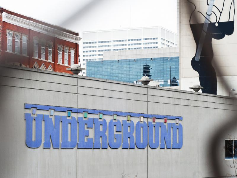 The Underground Atlanta entrance across from the MARTA Five Points Station.