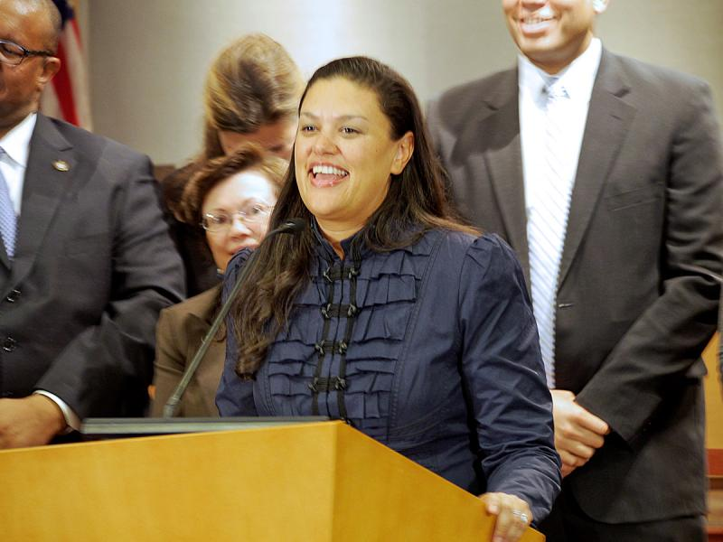 Dr. Meria Carstarphen speaks on April 14, 2014, after the announcement that the Atlanta Board of Education had unanimously selected her as the school system's next superintendent.
