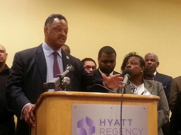 "Rev. Jesse Jackson, founder and president of the Rainbow PUSH Coalition, speaks during a press conference to announce it planned to file a lawsuit challenging Georgia's ""stand your ground"" law."
