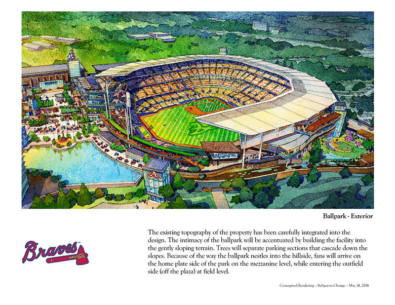 Artist's rendering of the new Braves stadium in Cobb County.
