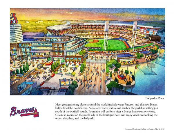 One of the conceptual drawings released by the Atlanta Braves on May 14, 2014, shows the new Braves stadium in Cobb County and part of the mixed use complex around it.