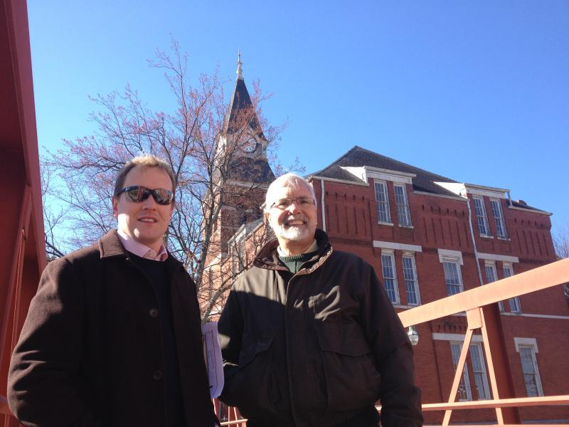 John Lemley and Dr. Tim Crimmins in front of Stone Hall, now Fountain Hall, on the campus of Morris Brown College