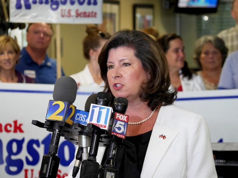 Campaigning with Kingston is former U.S. Senate candidate and former secretary of state Karen Handel.