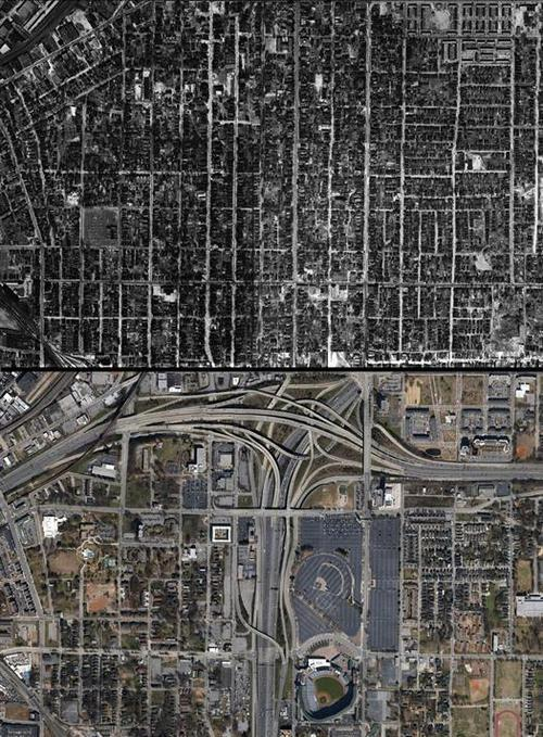 . A 1949 aerial view of Downtown Atlanta contrasted with a Google satellite view of the same area today shows how downtown Atlanta's landscape has changed.