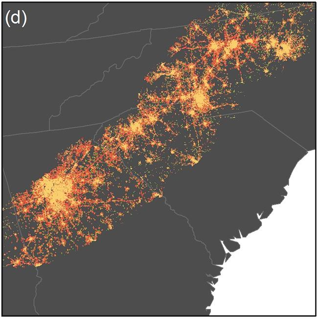"""Projected urban land cover in Piedmont ecoregion, showing connected urban landscape,"" from ""The Southern Megalopolis: Using the Past to Predict the Future of Urban Sprawl in the Southeast U.S"" by A. Terando et al. in PLOS ONE"