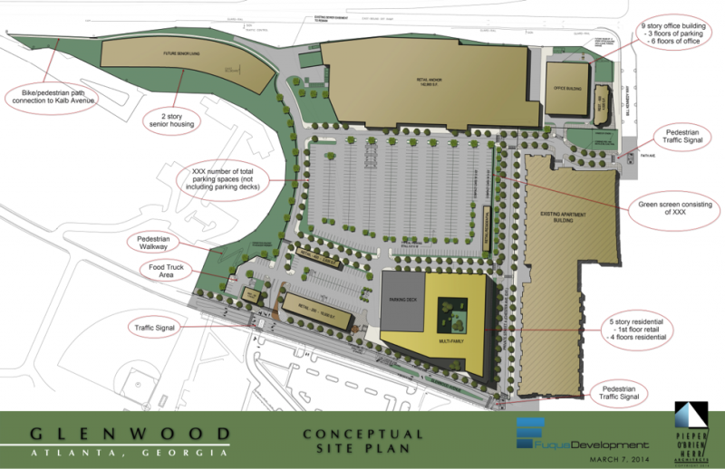 A conceptual site plan for the Glenwood Place development.