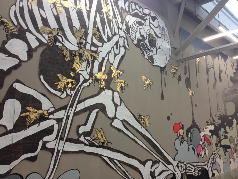 Detail of mural by Matt Haffner, Sarah Emerson, and Michi Meko, Exquisite Exhibit at the Atlanta Contemporary Art Center