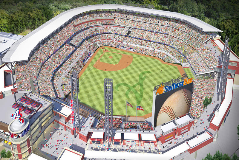 An aerial view of the newly-named SunTrust Park.
