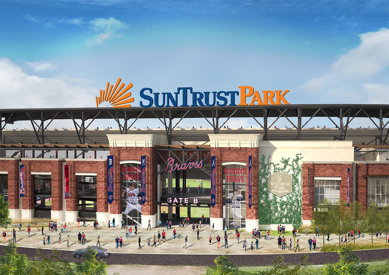 A rendering of the Braves stadium showing the new name: SunTrust Park. This is the entrance on the third base side.