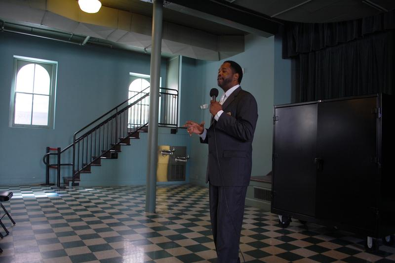 Stephon Ferguson gives a presentation at the historic Ebenezer Baptist Church, part of the Martin Luther King Jr. National Historic Site.