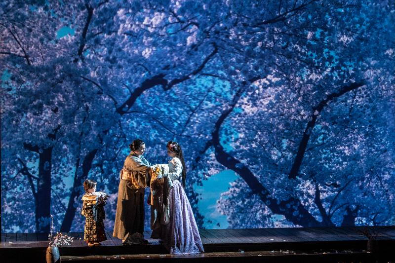 "Still from Lorin Maazel's 2014 Castleton Festival production of ""Madama Butterfly."" Directed by Tomer Zvulun, set design by Erhard Rom, lighting by Robert Wierzel."
