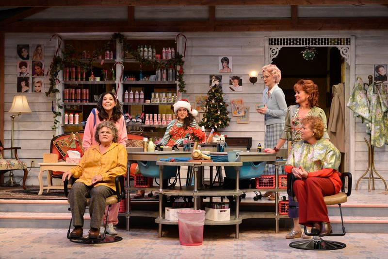 Photo of Zoë Winters (from left), Mary Pat Gleason, Sarah Stiles, Beth Broderick, Deirdre Lovejoy, and Becky Ann Baker in the Alliance Theatre's 2014/15 production of Steel Magnolias.